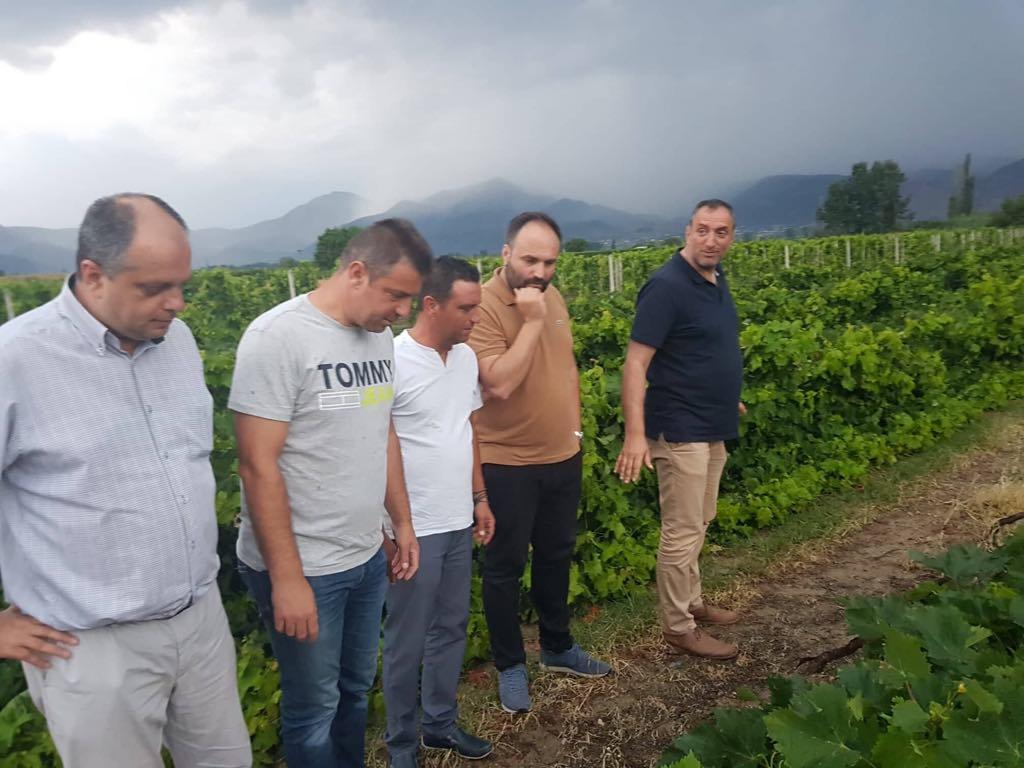 Επίσκεψη Καπετάνου στις χαλαζόπληκτες περιοχές του Τυρνάβου.